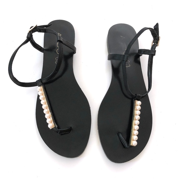 3e029bc54 Aldo Shoes - Aldo Black Flat Leather Thong Sandals Ankle Strap